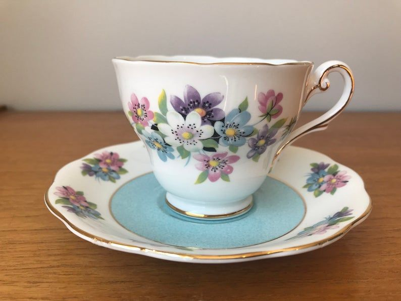 Vintage Royal Standard Tea Cup and Saucer, Blue Pink and Purple Flower Teacup and Saucer, Fine Bone China Collectible
