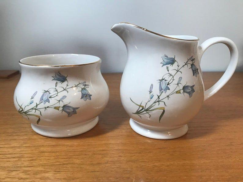 Vintage Sadler Creamer and Sugar Bowl, Vintage Cream and Sugar set, Bluebells Floral, 1970s