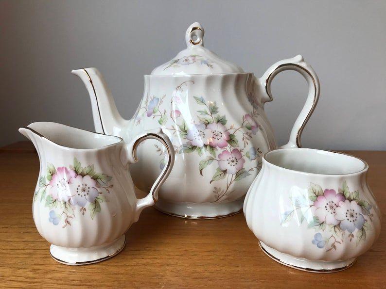 Vintage Tea Set Pastel Pink Blue Purple Floral Teapot Cream and Sugar set, Sadler Creamer Sugar Bowl England