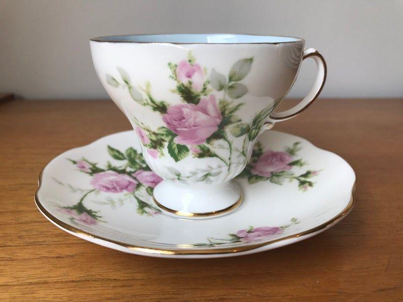 Vintage Teacup and Saucer, E B Foley China Tea Cup and Saucer, Pink Roses Bone China, Princess Tea Party