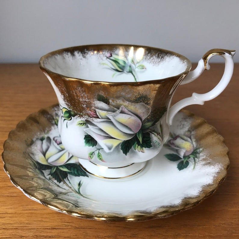 White Rose Teacup and Saucer, Royal Albert Helen Tea Cup and Saucer, Sweetheart Roses Series, Heavy Gold, Bone China