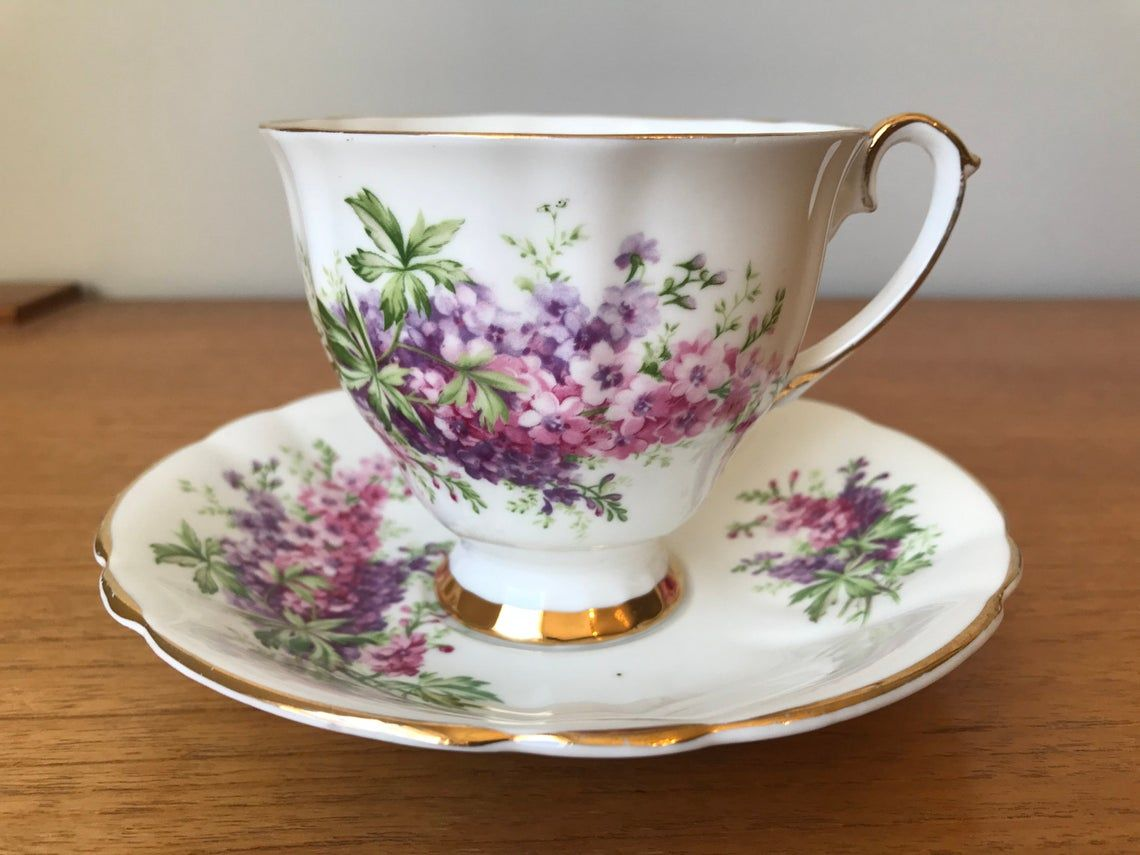 Windsor Tea Cup and Saucer, Purple and Pink Lilacs Teacup and Saucer, Bone China Collectibles