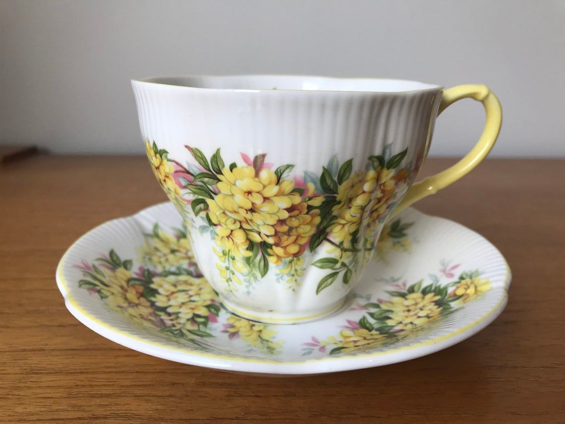 Yellow Floral Bone China Tea Cup and Saucer, Royal Albert Laburnum Blossom Time Series Teacup and Saucer