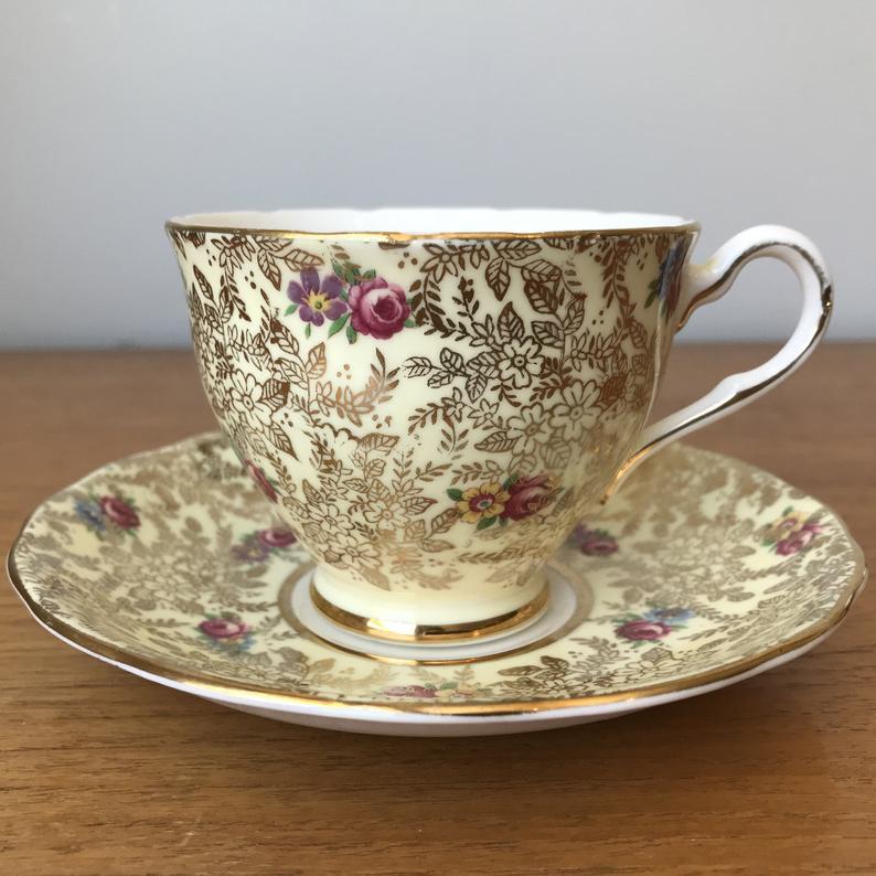 Yellow Gold Chintz Teacup and Saucer, Colclough China Tea Cup and Saucer