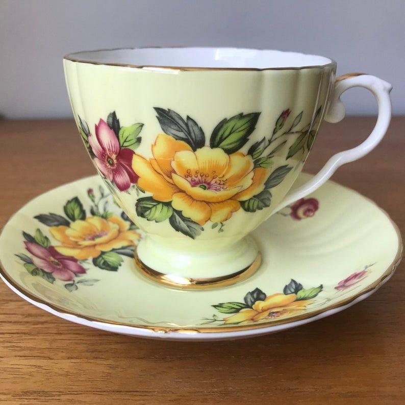 Yellow Royal Grafton Tea Cup and Saucer, Floral Teacup and Saucer, 8562