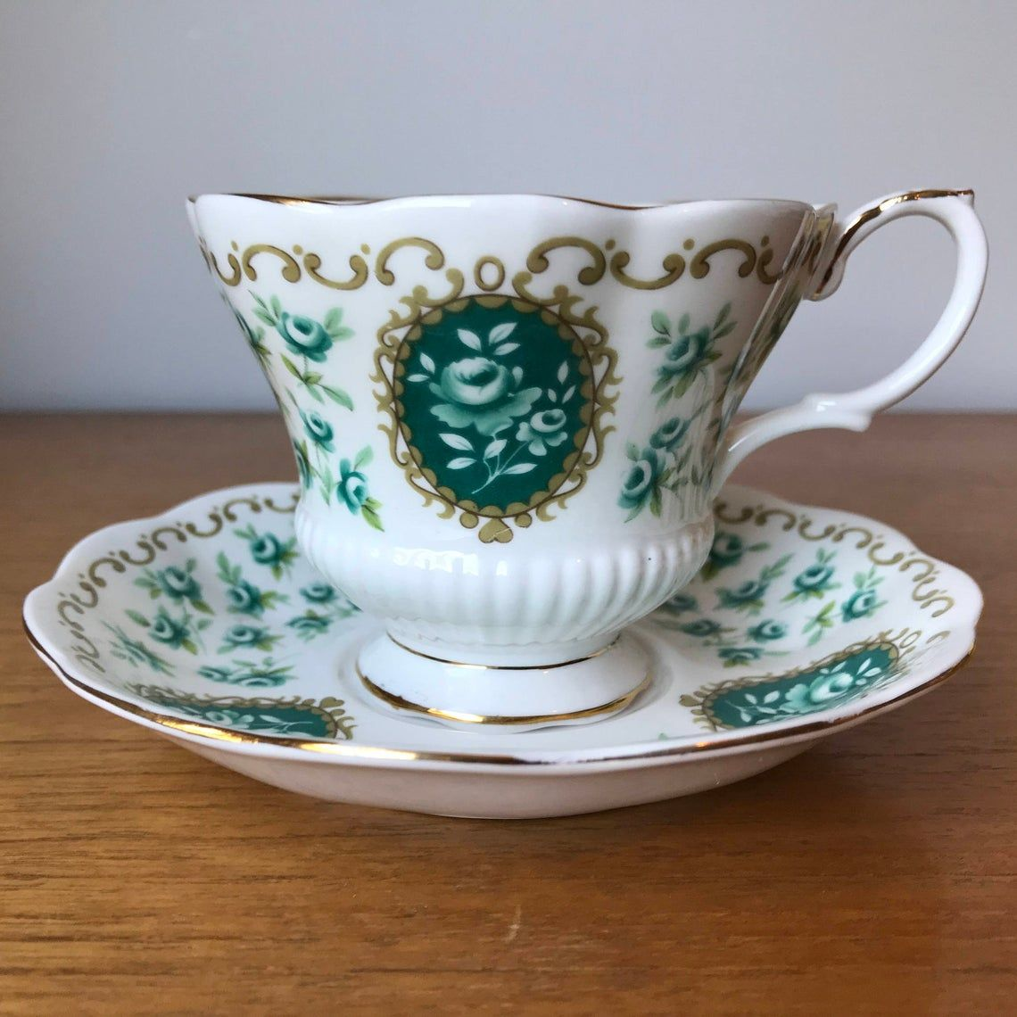 "Royal Albert Roses ""Memento"" Cameo Series Teacup and Saucer, Green Floral Tea Cup and Saucer, Bone China"