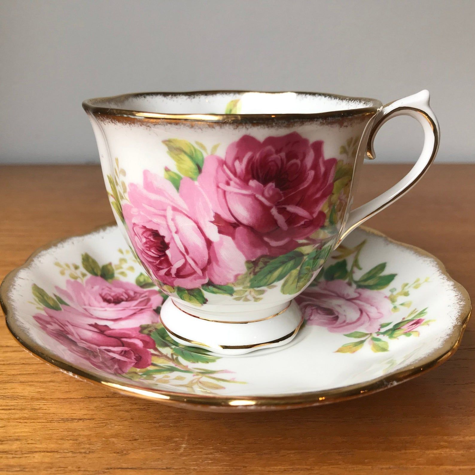 """Royal Albert """"American Beauty"""" Pink Rose Vintage Teacup and Saucer, Floral Tea Cup and Saucer, English China"""