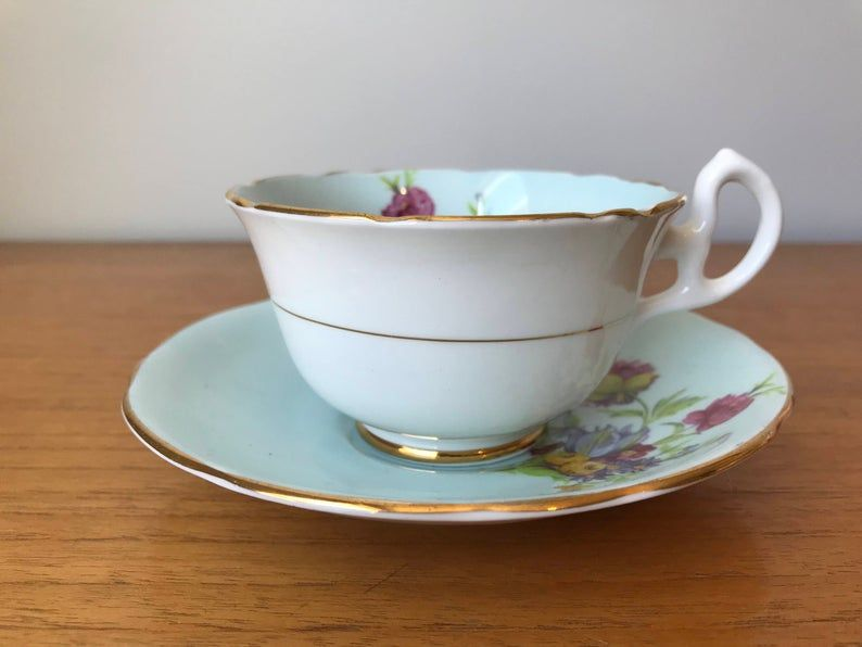Royal Stafford Blue Tea Cup and Saucer, Vintage Floral Teacup and Saucer, Bone China