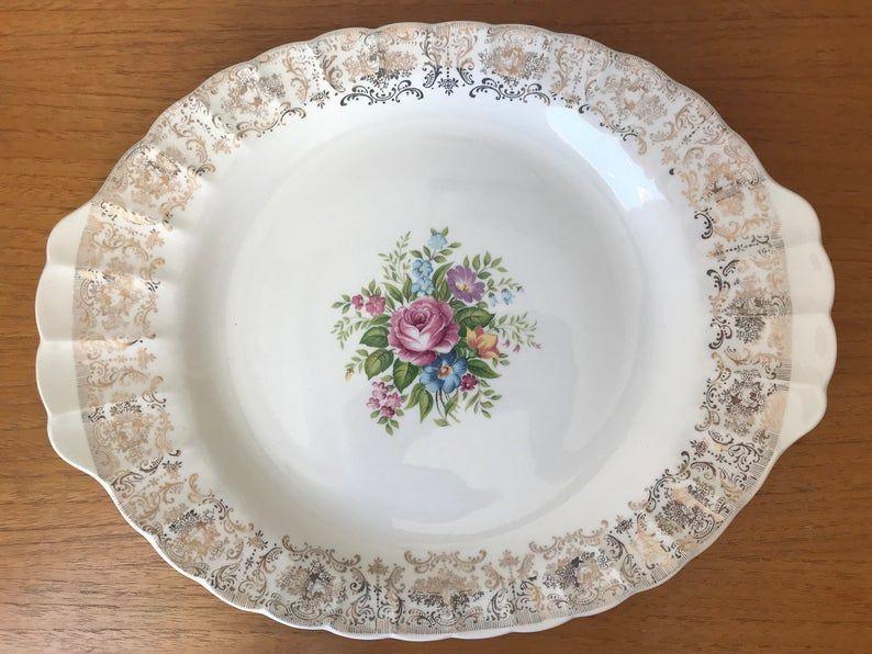 American Limoges Rosalie Serving Platter, Vintage Tray, Warranted 22 karat Gold Border, Floral Ceramic Earthenware Dish, 1940s, 1950s