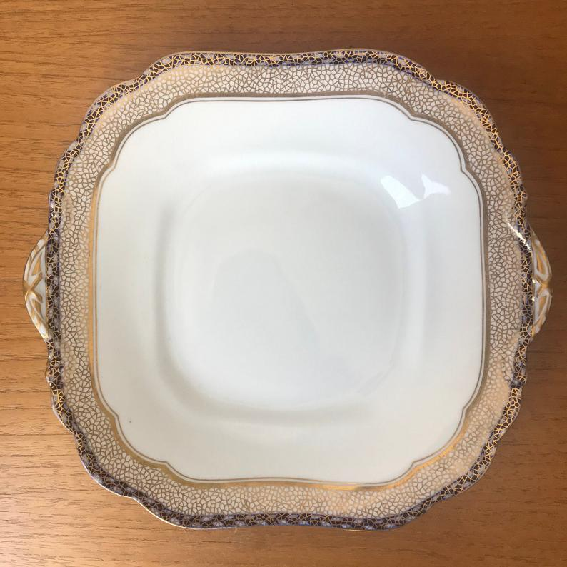 Antique Aynsley China Dish, Blue and Gold Shallow Serving Bowl