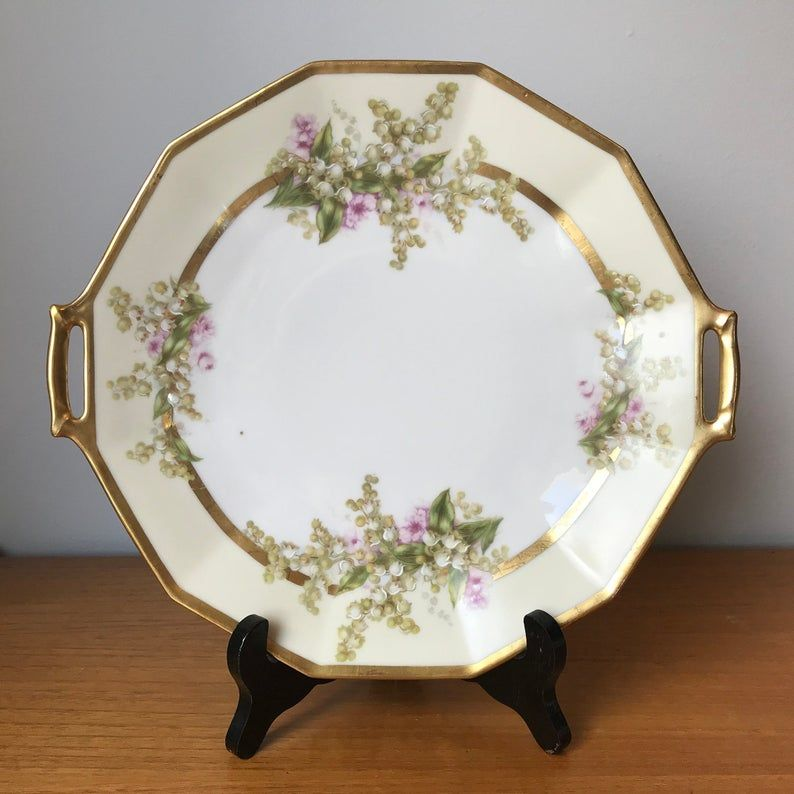 Antique Limoges Serving Tray, Lily of the Valley Floral Tray with Handles, Vintage Serving Plate, Porcelain China Dish