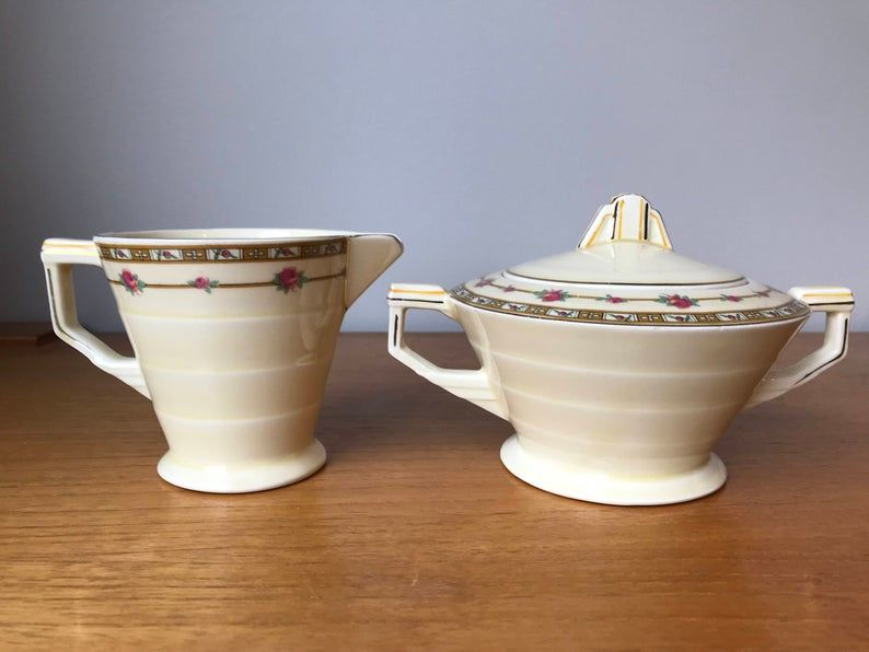 Art Deco Cream and Sugar set, Grindley England Merlin Pink Roses Creamer and Sugar Bowl, Milk Pitcher and Bowl