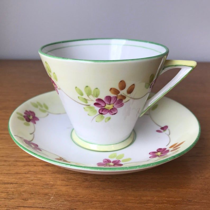 Art Deco English Tea Cup and Saucer, Hand Painted Phoenix China Teacup and Saucer