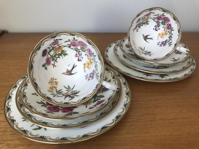 Aynsley Mikado Tea Set, Birds and Flowers Tea Cups, Saucers and Plates, 1920s - 1930s Bone China, Rare