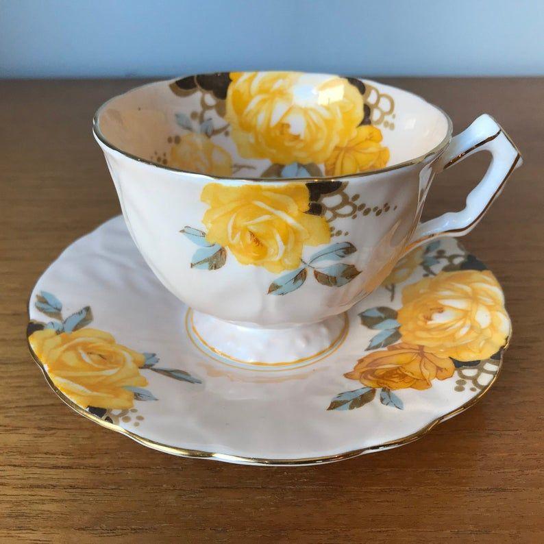 Aynsley Yellow Rose Tea Cup and Saucer, Peach Teacup and Saucer, Bone China