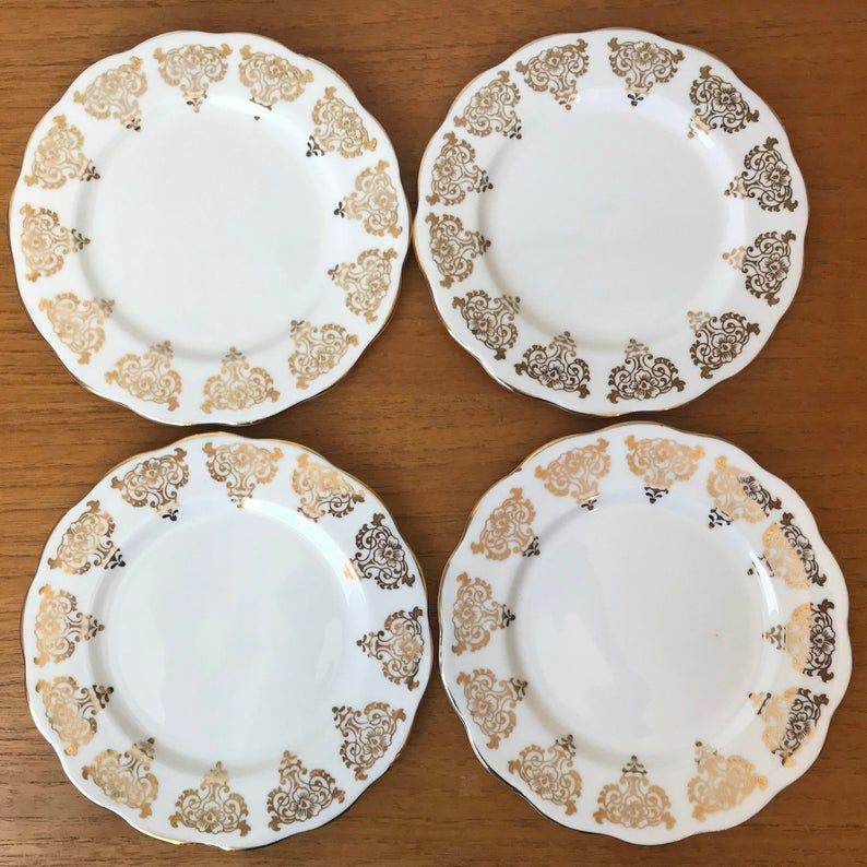 Bell China White and Gold Plates, Bread and Butter Plates