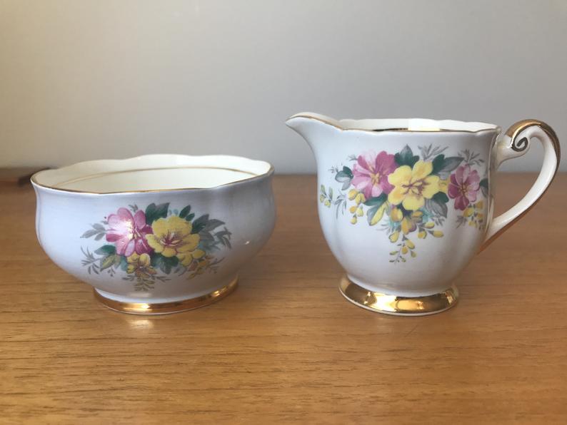 Blue China Cream and Sugar set, Floral Vintage Creamer and Sugar Bowl, Windsor English Bone China Milk Pitcher