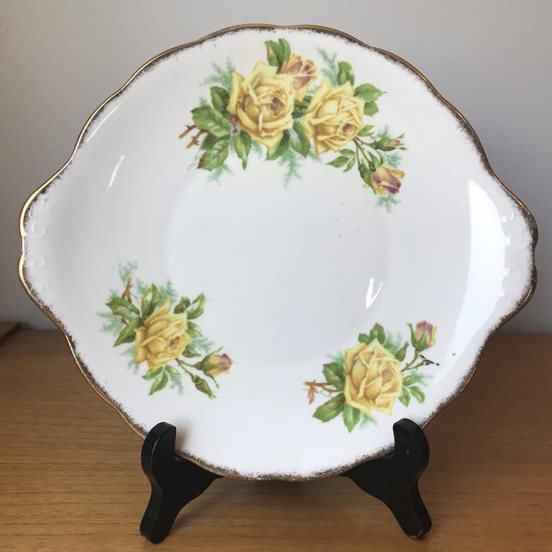 Bone China Cake Plate, Royal Albert Tea Rose Serving Tray, Yellow Roses Tab Handles Dessert Tray, China Dish, Tea Party