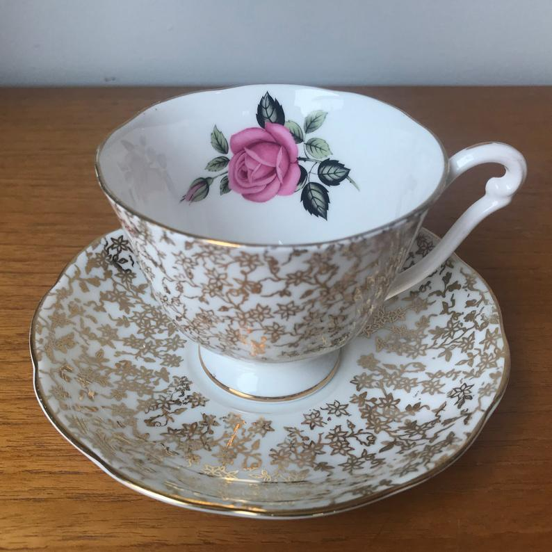 Bone China Tea Cup and Saucer, Gold Chintz Pink Rose Teacup and Saucer, Made In England