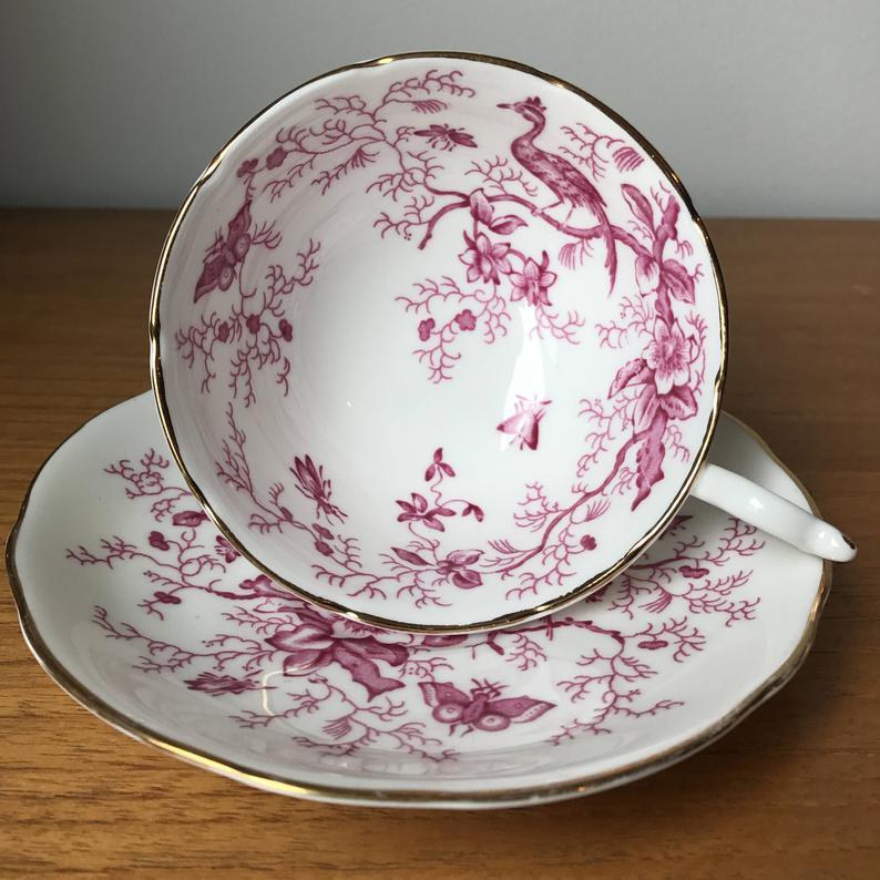 Coalport Pink Birds Bugs Butterflies Bone China Tea Cup and Saucer, Pink and White Teacup and Saucer