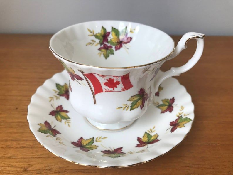 Royal Albert From Sea to Sea Tea Cup and Saucer, Canada Flag Maple Leaf Teacup and Saucer, Canadian Souvenir, Bone China