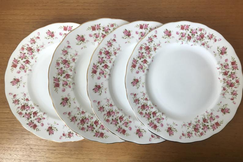 China Dinner Plates, Queen Anne Cascade Roses Plates, Dinnerware, China Dishes, Dinner Party