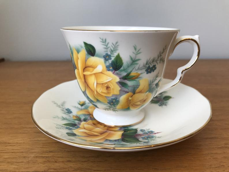 China Tea Cup and Saucer, Queen Anne Yellow Rose Teacup and Saucer