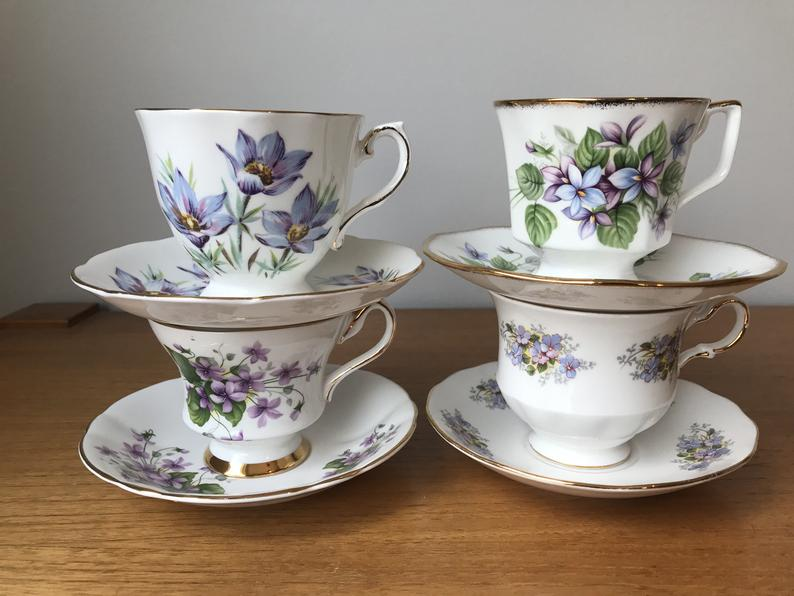 China Tea Set for Four, Mismatched Tea Cups and Saucers, Periwinkle Blue and Purple Flower Teacups and Saucers set