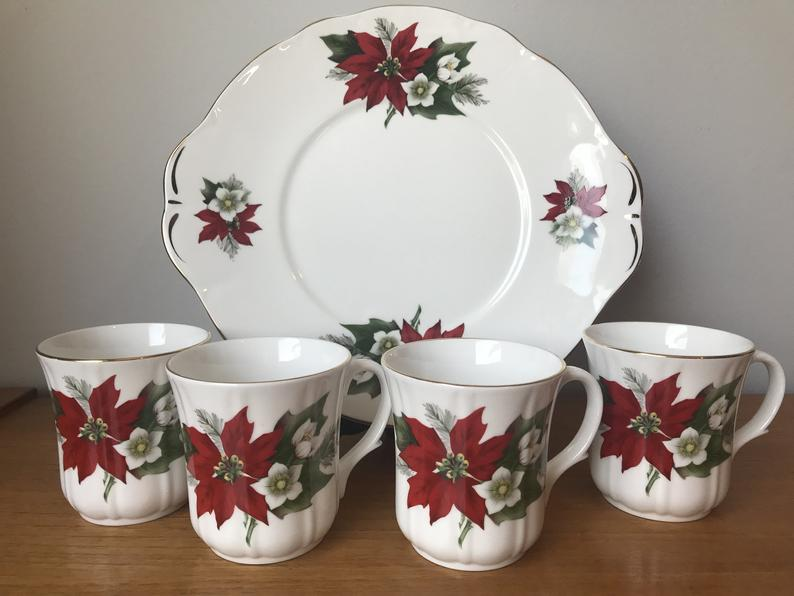 Christmas Coffee Mugs with Serving Tray, Red Poinsettias Coffee Cups and Dessert Plate, Duchess Bone China