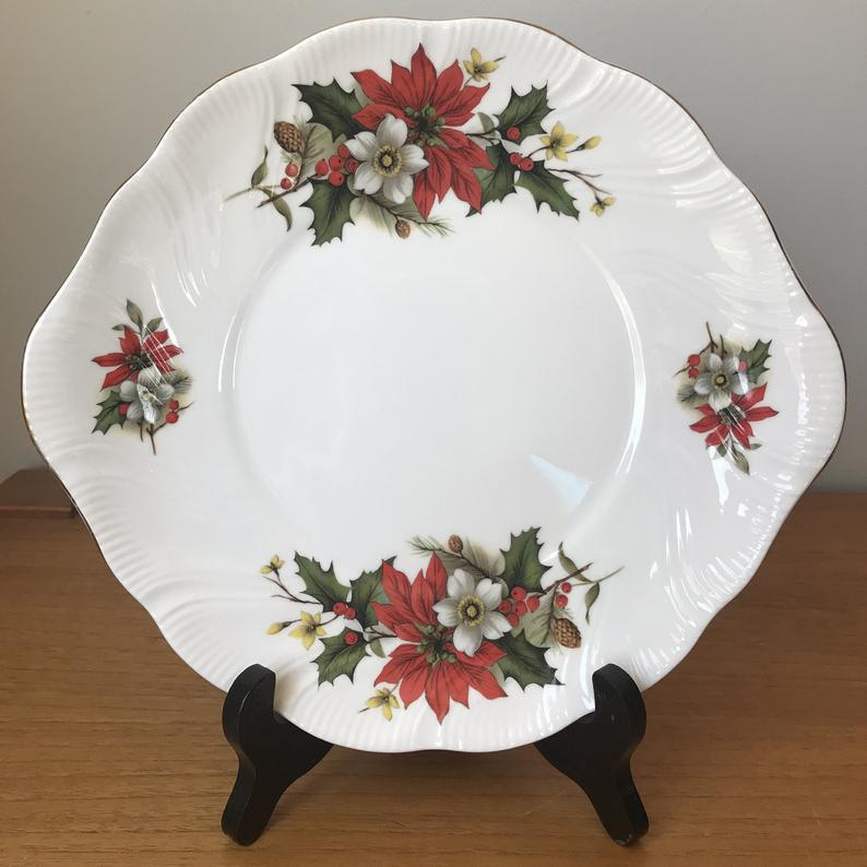 Christmas Serving Tray, Red Poinsettia Green Holly Cake Plate, Fine Bone China