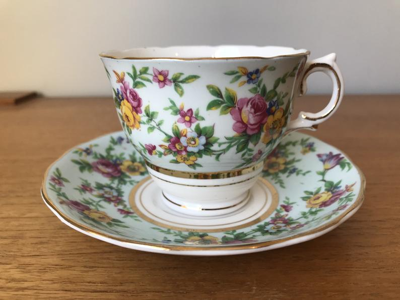 Colclough Tea Cup and Saucer, Pale Blue with Colourful Flowers Teacup and Saucer Fine Bone China