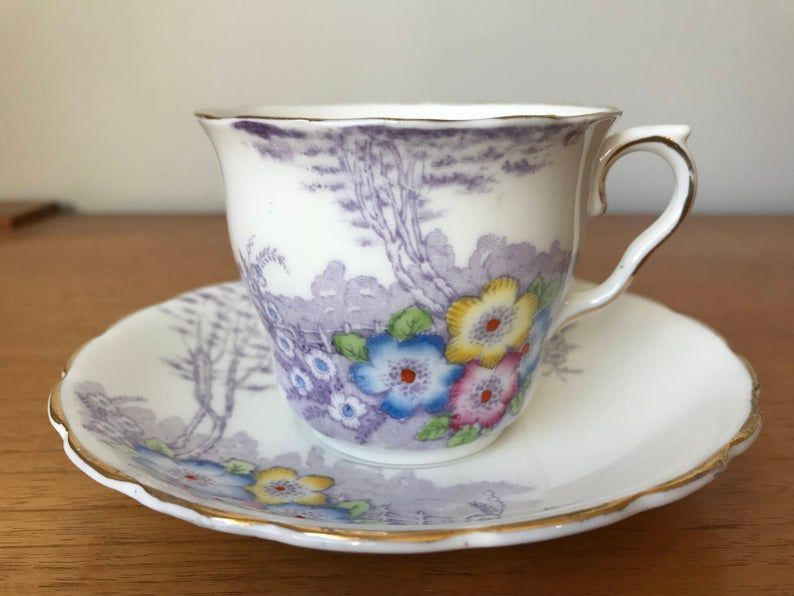 Colclough Vintage Teacup and Saucer, Purple Trees Pink Yellow Blue Flower Tea Cup and Saucer, WW2 English Floral Bone China