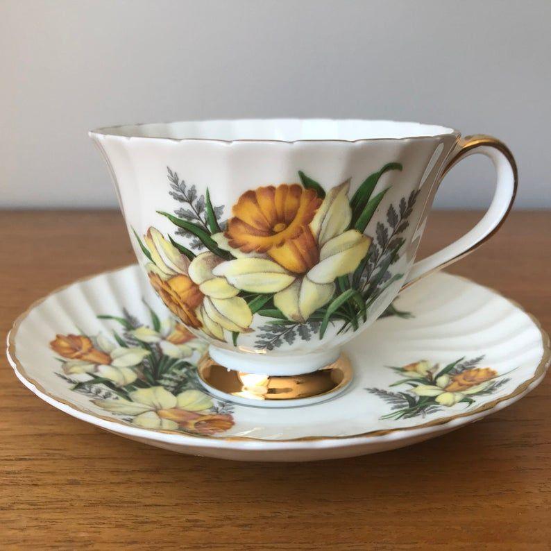 Daffodil Tea Cup and Saucer, Royal Adderley Vintage Teacup and Saucer, English Bone China