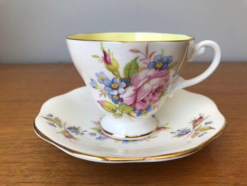 EB Foley Tea Cup and Saucer, Pink Rose Teacup and Saucer, Vintage Bone China