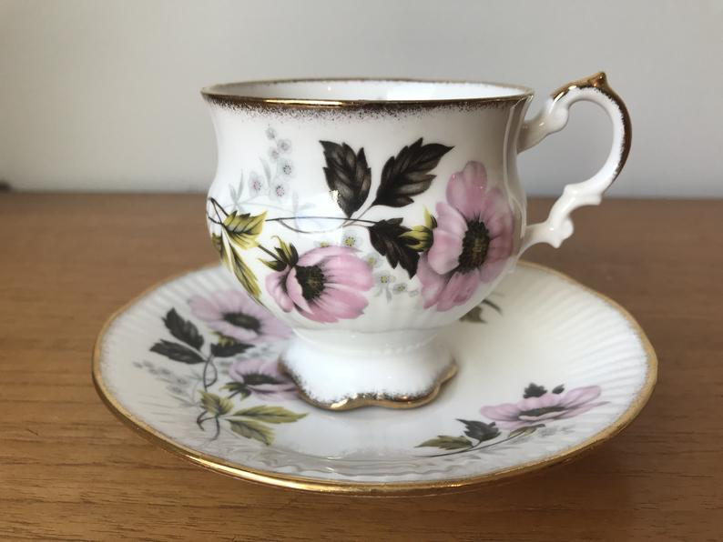 Elizabethan Tea Cup and Saucer, Pink Flower Footed Teacup and Saucer, English Fine Bone China