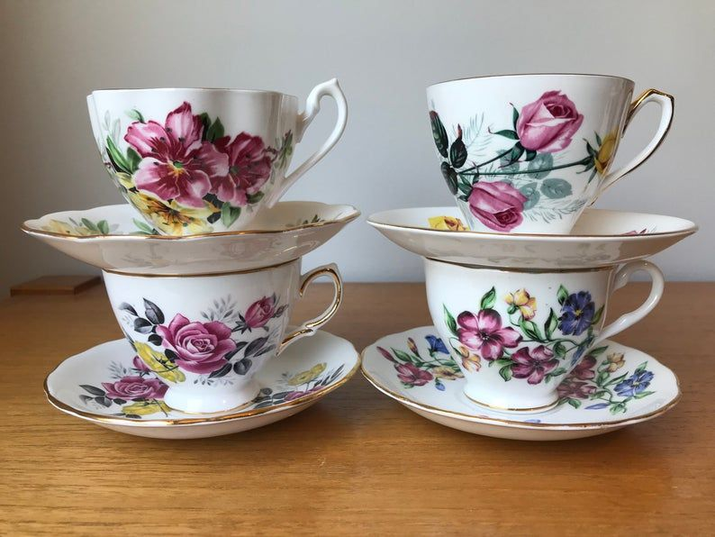 Floral China Tea Set, Pink Yellow and Blue Flower Teacups and Saucers, Mismatched Tea Party, Vintage Tea Cups and Saucers