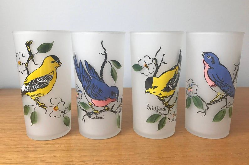 Frosted Drinking Glasses, Bluebirds and Goldfinches Tall Skinny Glass, Vintage Bird Tumblers, Blue Birds and Gold Finch Barware, Collectible