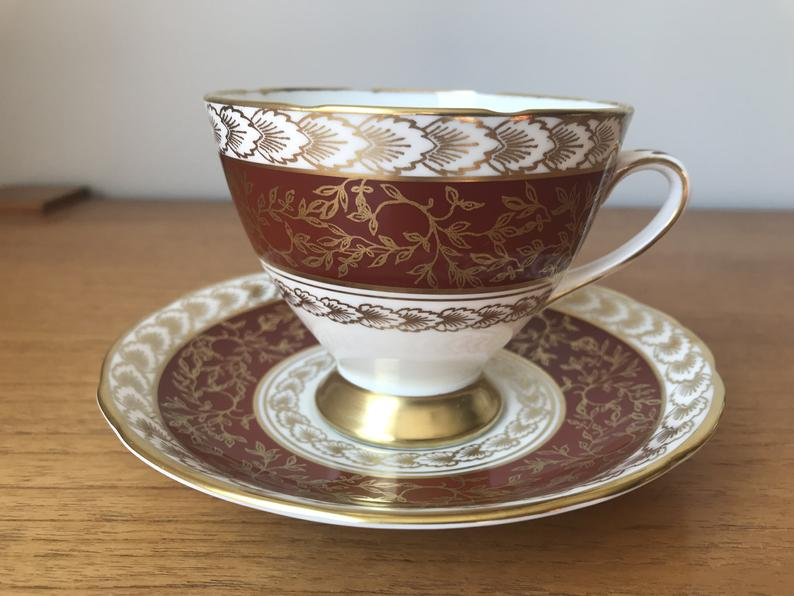Gladstone Vintage Tea Cup and Saucer, Brown Gold and White Transferware Teacup and Saucer, Bone China