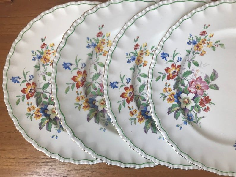Grindley England Dinner Plates, The Rosalind Floral Blue and Orange Transferware Vintage Plates, Dishes Dinnerware