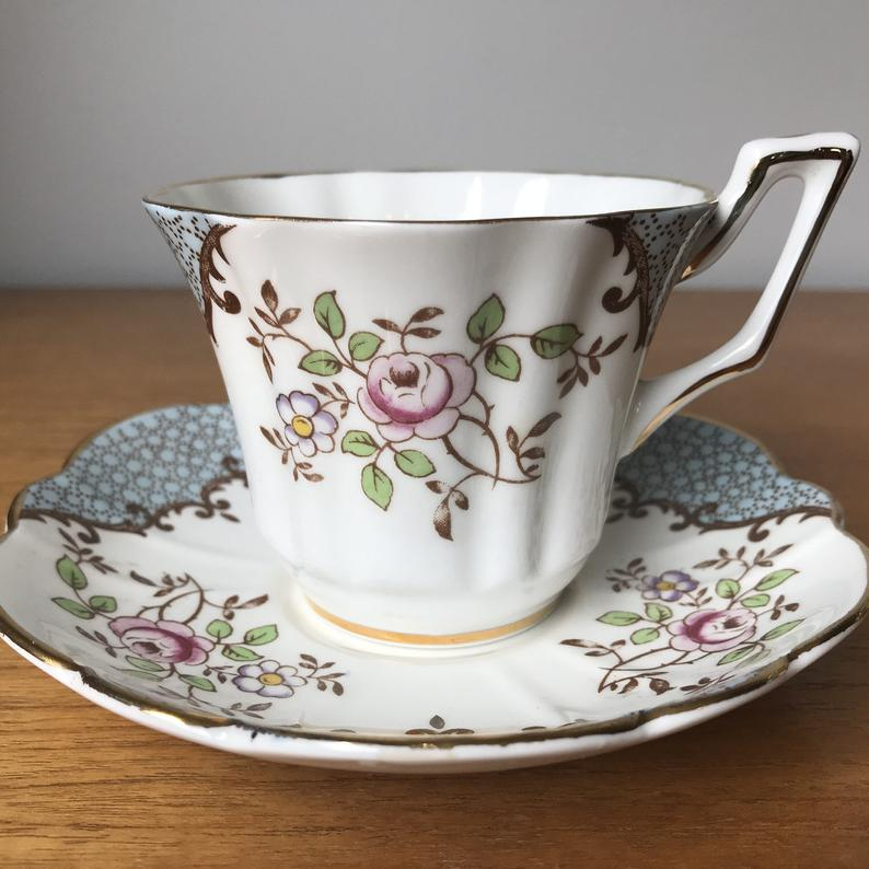 Grosvenor Vintage Teacup and Saucer, Blue, Brown Transfer, Pink Rose Tea Cup and Saucer, English Floral Bone China