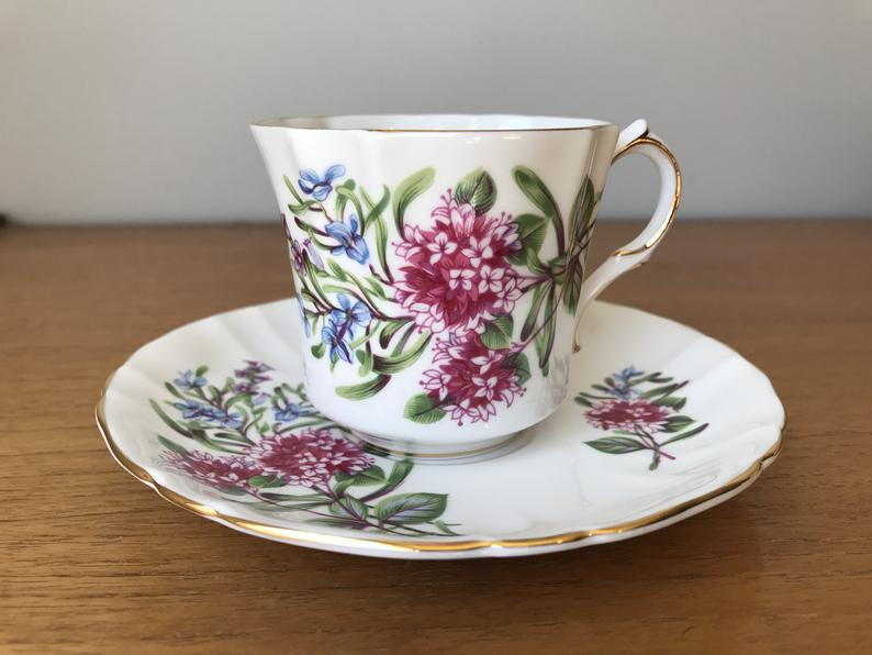 Hammersley Coffee Cup and Saucer, Royal Avon Tea Cup and Saucer, Shakespeare's Day Marjoram Lavender Rosemary Floral Teacup and Saucer