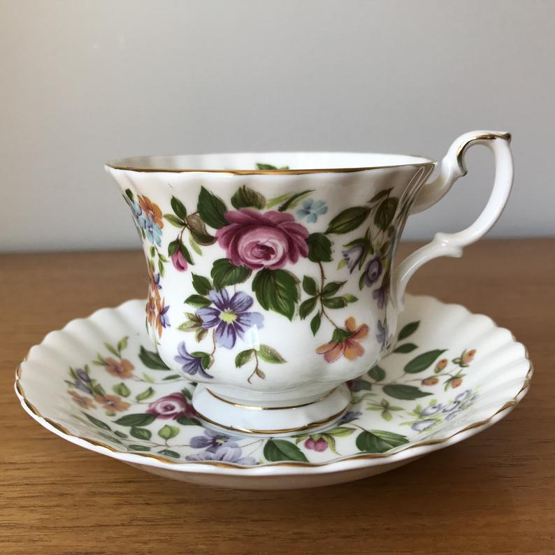 Royal Albert Devon Random Harvest Series Bone China Teacup and Saucer, Flower Tea Cup and Saucer