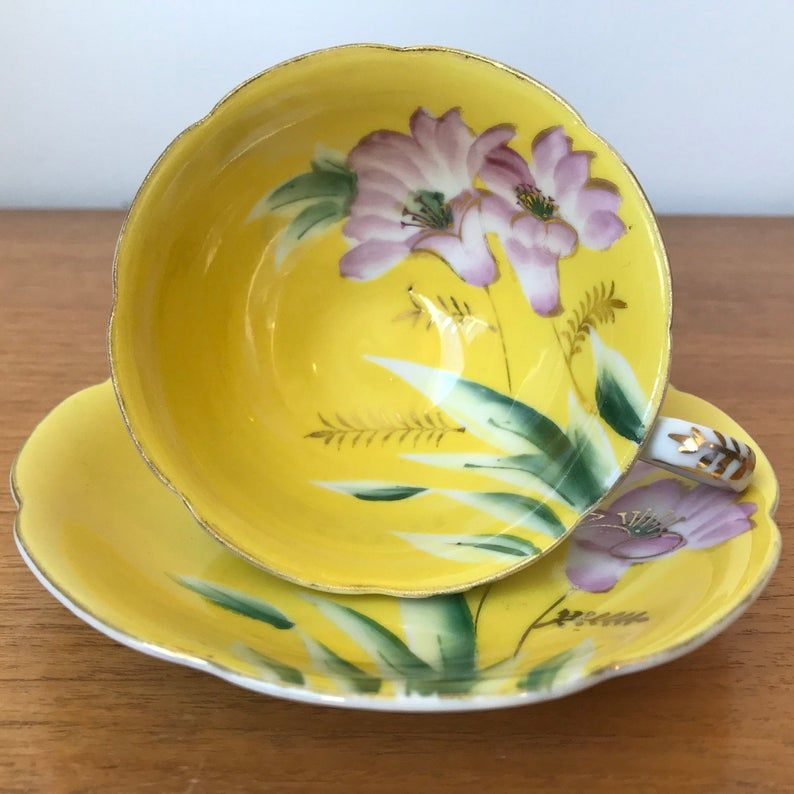 Japanese Yellow Vintage Teacup and Saucer, Hand Painted Pink Flower Tea Cup and Saucer, Floral China Cup, Made in Japan