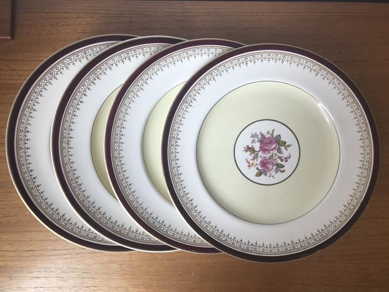 Johnson Brothers Pareek Vintage Plates, Deep Maroon Red, Yellow, White, Gold, Pink Rose Dinner Plates, Dinnerware Dishes