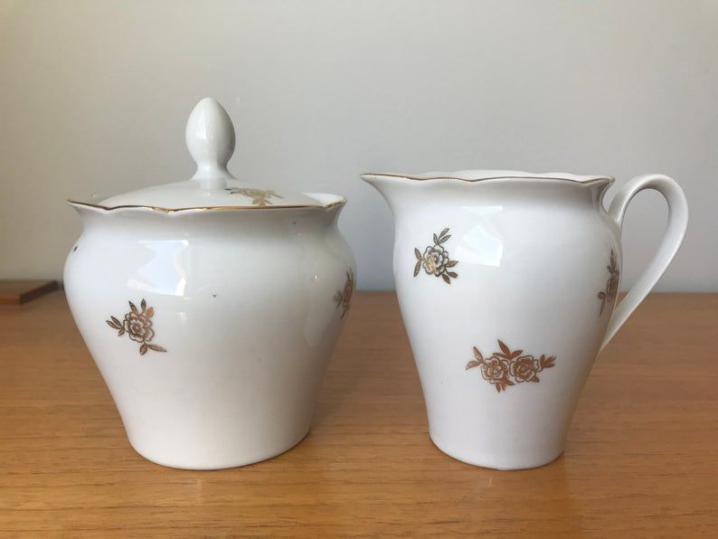 Kahla East Germany Cream and Sugar set, Tall Gold Roses Creamer and Sugar Bowl with Lid