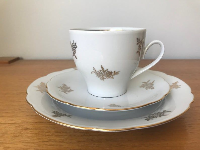 Kahla Teacup Trio, Gold Roses Tea Cup Saucer and Plate set, Made in East Germany