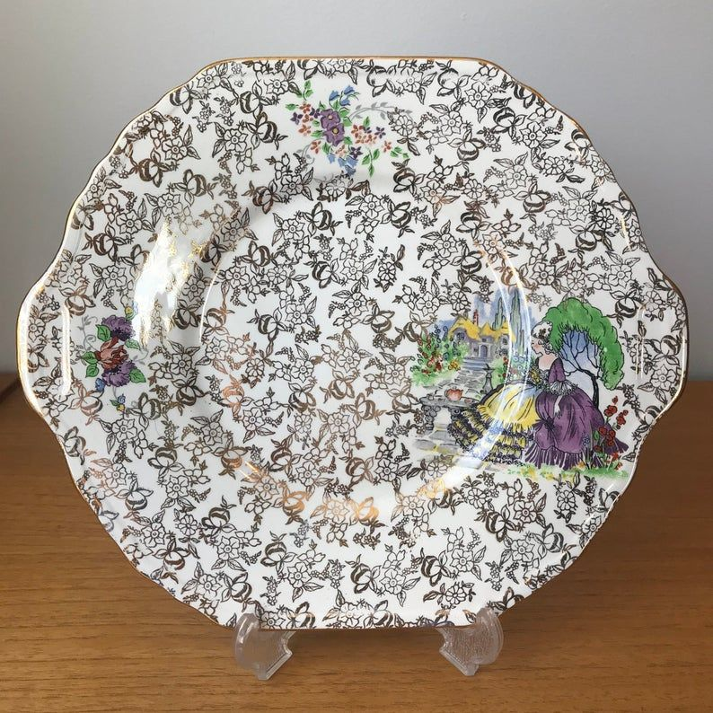 Lord Nelson Ware Chintz Serving Plate, Pompadour Lady in Waiting Gold Chintz Tray, BCM Nelson Ware, Made in England Tea Party