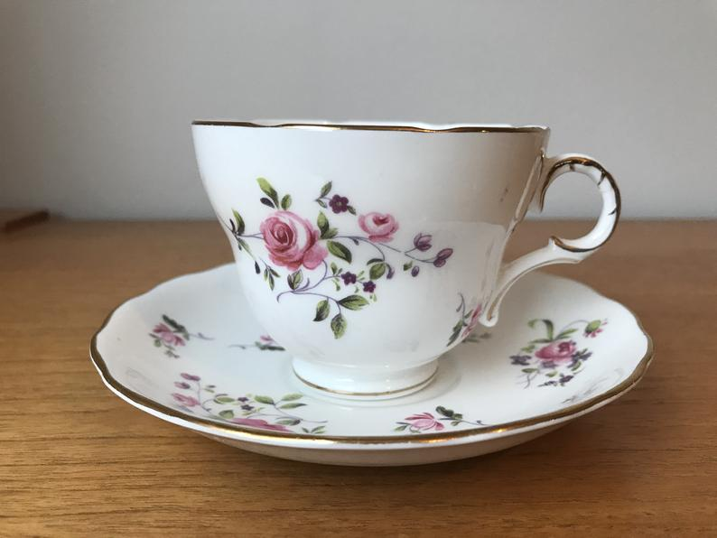 Melba China Tea Cup and Saucer, Pink and Purple Flower Teacup and Saucer