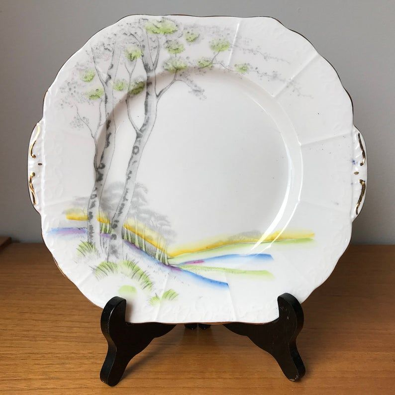 Melba Vintage Serving Plate, Scenic Tree Cake Plate, Bone China Dish, Made in England