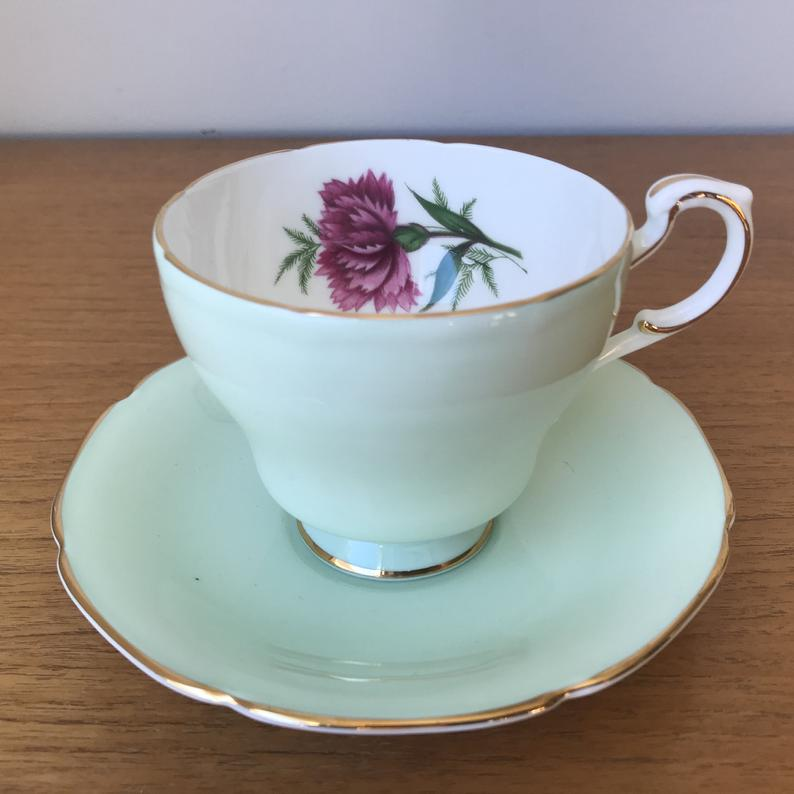 Mint Green Paragon Tea Cup and Saucer, Dark Pink Carnation Fine Bone China Teacup and Saucer